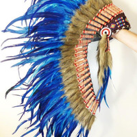 Medium Electric Blue Feather Headdress (36 inch long ).