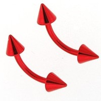 "16g Red Titanium Anodized Over Surgical Steel Curved Barbell Eyebrow Ring Body Jewelry Piercing with Spikes 16 Gauge 5/16"" Sold As a Single 7Z ACC"