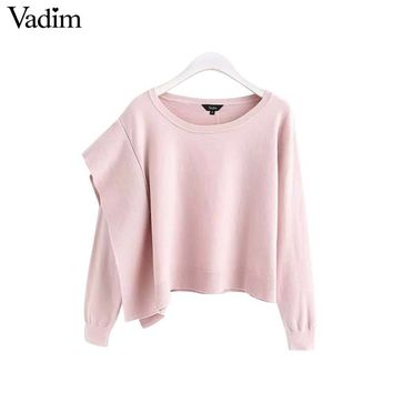 Vadim women sweet ruffled knitted sweater long sleeve o neck stretchy pullovers female short style pink white cute tops HA051