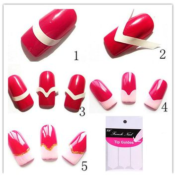 480Pcs For French Manicure Design Nail Art Sticker Water Transfer Nails Stickers Nail Decals Decoration Manicure Stencil Sticker