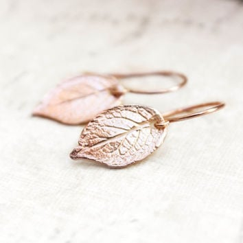 Rose Gold Leaf Earrings Small Drop Earrings Pink Gold Earrings Rustic Natural Rose Leaf 24K Gold Vermeil Gold Filled Forest Woodland Nature