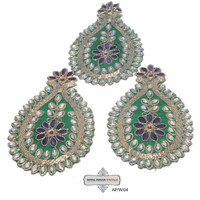 Beaded Appliques Indian Sewing Craft Green Costume Patches Sari Patches Embroidered Appliques 3 Pcs  AP/W/04 Free Shipping
