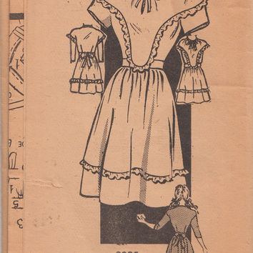 1920s Teen Dress with Ruffled Bodice and Tie at Neck Vintage Mail Order Sewing Pattern Marian Martin 9325 Size 12 Bust 30