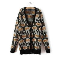 Black Skull Patterned Button Knitted Cardigan