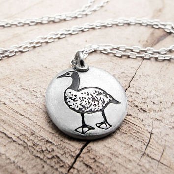 Little Canada Goose necklace  silver goose by lulubugjewelry