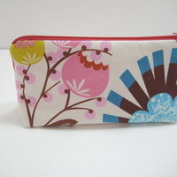 Cosmetic Bag, Zippered Accessory Pouch, Cosmetic Case, Modern Floral Print Print, LouLouThi Pouch, Ready to Ship
