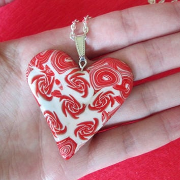 rose polymer clay heart,polymer clay jewelry,rose necklace,affordable jewelry,polymer clay pendant,romantic gift for her,summer necklace
