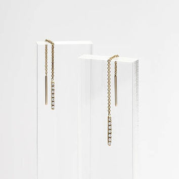 14k Gold Threader Earrings With Diamonds - Pave Diamond Linear Ear Thread - Dangle Earrings - Drop Earrings - Minimalist Jewelry LITTIONARY