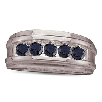 10kt White Gold Men's Round Black Color Enhanced Diamond Wedding Band 1.00 Cttw - FREE Shipping (US/CAN)