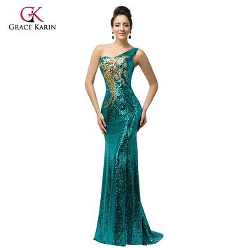 Grace Karin Sexy Purple teal Green Sequin Gown Mermaid Long Evening Dresses 2017 Trumpet One shoulder Evening Party Dress 7545