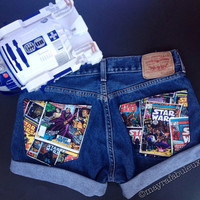 The Force. ANY SIZE Vintage High Waisted Shorts , Star Wars Shorts - Mayrafabuleux Original Design