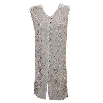 Mogul Women's Shift Dress Sleeveless sand Beige Button Front Embroidered Dresses - Walmart.com