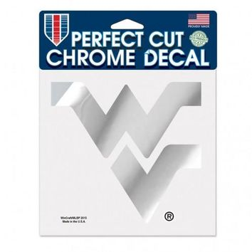 West Virginia Mountaineers Decal 6x6 Perfect Cut Chrome