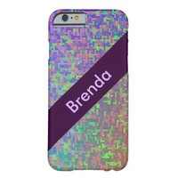 Colorful Abstract Green Purple Your Name Barely There iPhone 6 Case