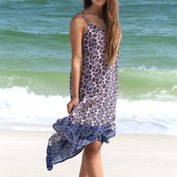 In The Wind Multi Floral Print With Contrast Hem Handkerchief Dress