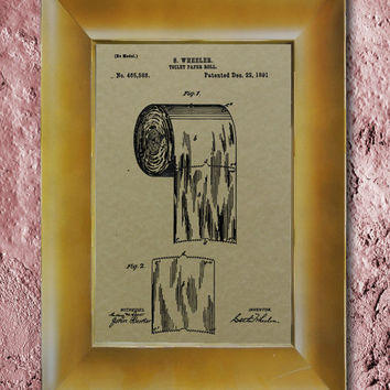 Toilet Paper Roll Patent 1891 Wall Art Poster