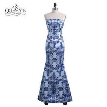 2018 New Fashion 3D Floral Print Flower Long Mermaid Prom Dresses Robe de Soiree Floor Length Satin Evening Dress Party Gowns