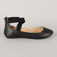 Bamboo Standouts-17A Leatherette Criss Cross Round Toe Ballet Flat