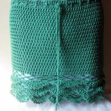 crochet skirt, mini, EMERALD GREEN, ruffled, wedding, parties, festival clothing, summer, gypsy, boho