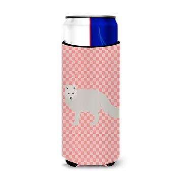 White Arctic Fox Pink Check Michelob Ultra Hugger for slim cans