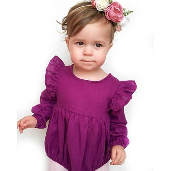 Spring Autumn Drop Shipping baby girl Round Collar Solid Long Sleeves Cheap Baby Rompers Newborn Girls Baby Clothes Body Suits