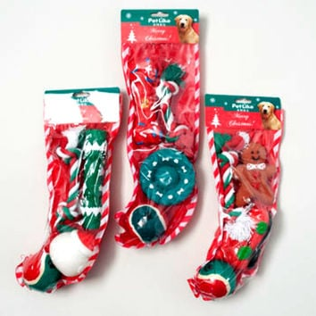 christmas dog toy stocking 4 piece 3 assorted in pdq Case of 32