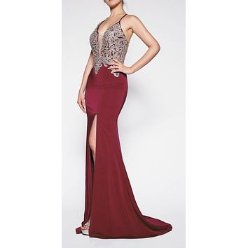 Floor Length Fitted Satin Crepe Gown Burgundy/Gold Deep Plunge Neckline