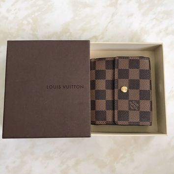 Auth Louis Vuitton Damier Elise Wallet
