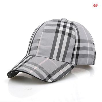 Burberry Fashion New Plaid Stripe Sun Protection Women Men Cap Hat 3#