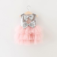 Little Baby Girl Bridesmaid Wedding Dress Fluffy Ball Gown Gold Sequins Events Clothes
