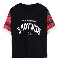 New York Graphic Print Black Plaid Sleeve Rolled Cuffs Shirt