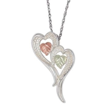 Black Hills Gold Sterling Silver Heart Angel Wings Pendant