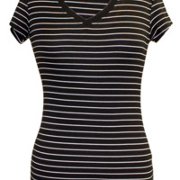Striped V-Neck Short Sleeve Shirt