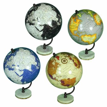 Assortment Of 4 Elegant Globe On Stand, Multicolor By Benzara