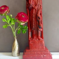 Guan Yin Statue/ GuanYin Statue/ Vintage Red Asian Goddess Of Compassion/ Red Buddha Statue/ Goddess Statue/ Quan Yin Statue