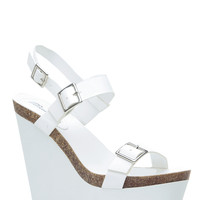 White Faux Leather Buckle Accent Sling Back Wedges
