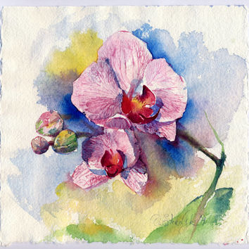 "Original watercolor floral painting ""Orchid flower"" on a handmade watercolour paper"