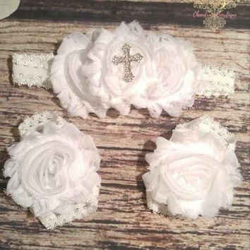 White Shabby and Rhinestone Cross on Ruffle Band Headband and Barefoot Sandals Set