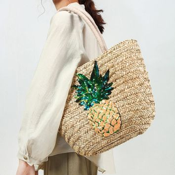 Pineapple Straw Joker One-shoulder Travel Holiday Beach Bag