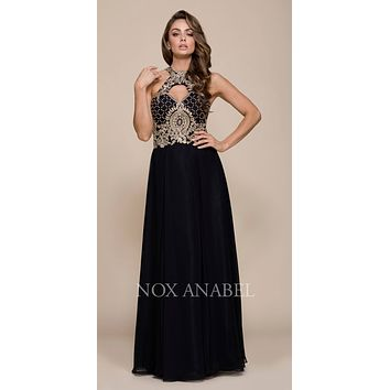 Black/Gold A-line Long Prom Dress with Sweetheart Cut-Out Neckline