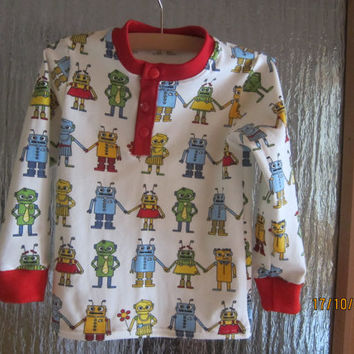 Toddlers Lang arm t-shirt top with funny Roboters in size 4T