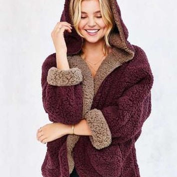 Burgundy Reversible Faux Fur Hooded Coat Fuzzy Jacket
