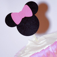 Cupcake Topper - minnie mouse party - girls party