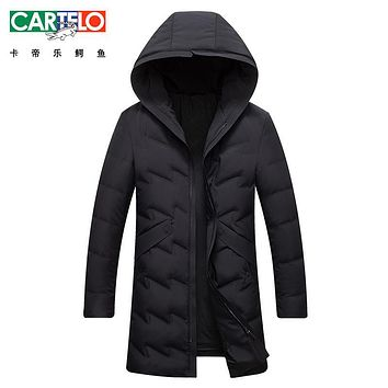 Cartelo/Brand Long Winter Down Jacket Winter New Light Warm Brand Clothing Collar Male 90% White Duck Down Coat For Male