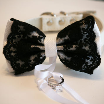 Black and White Dog Bow Tie ring bearer, Pet Wedding, Black White Wedding