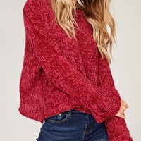 Cloud Cover Semi Crop Chenille Sweater