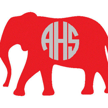 Elephant Monogram Decal - Monogram Elephant Car Sticker