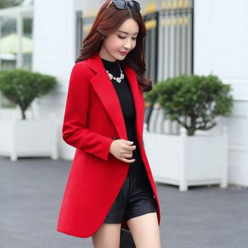 Spring and autumn women's new Korean version of the long section of wool-like jacket Slim fashion solid color wool coat
