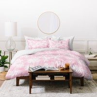 Lisa Argyropoulos Snow Flurries in Pink Duvet Cover