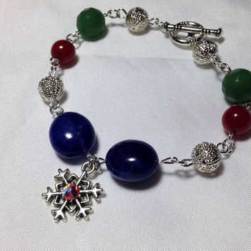 Glamorous Frozen Over Gemstone and filigree link bracelet - frozen inspired - snowflake jewelry - winter bridal - christmas for her